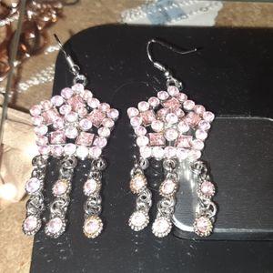 Pink Crown Dsngle Chandelier Earrings